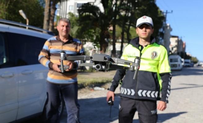 Yatağan'da drone ile trafik denetimi