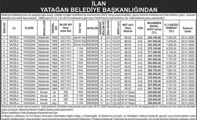 Yatağan Belediyesi, 19 daireyi açık artırmayla satışa çıkaracak