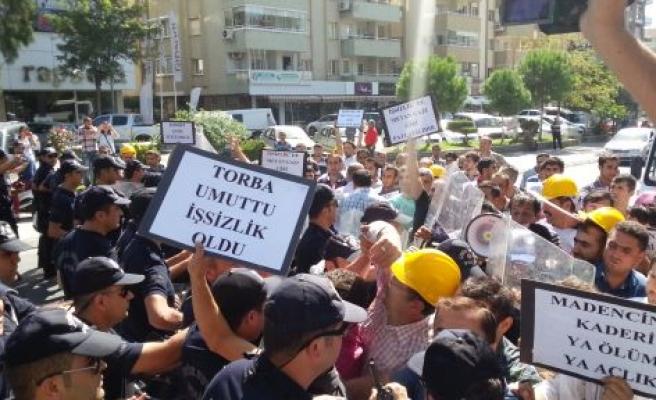 MADENCİ EYLEMİNE POLİS MÜDAHALESİ