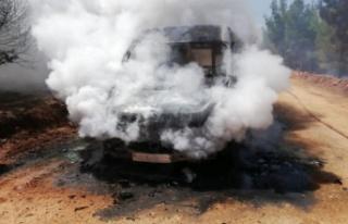 Araç yangını ormana sıçradı!
