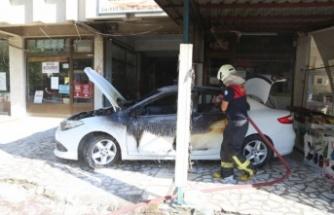 Yatağan alev alev! Ormandan sonra park halindeki otomobil yandı!
